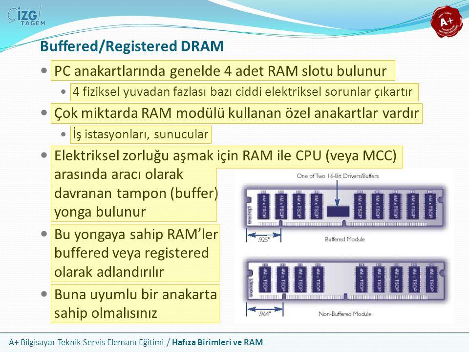 A+ Bilgisayar Teknik Servis Elemanı Eğitimi / Hafıza Birimleri ve RAM PC anakartlarında genelde 4 adet RAM slotu bulunur 4 fiziksel yuvadan fazlası ba