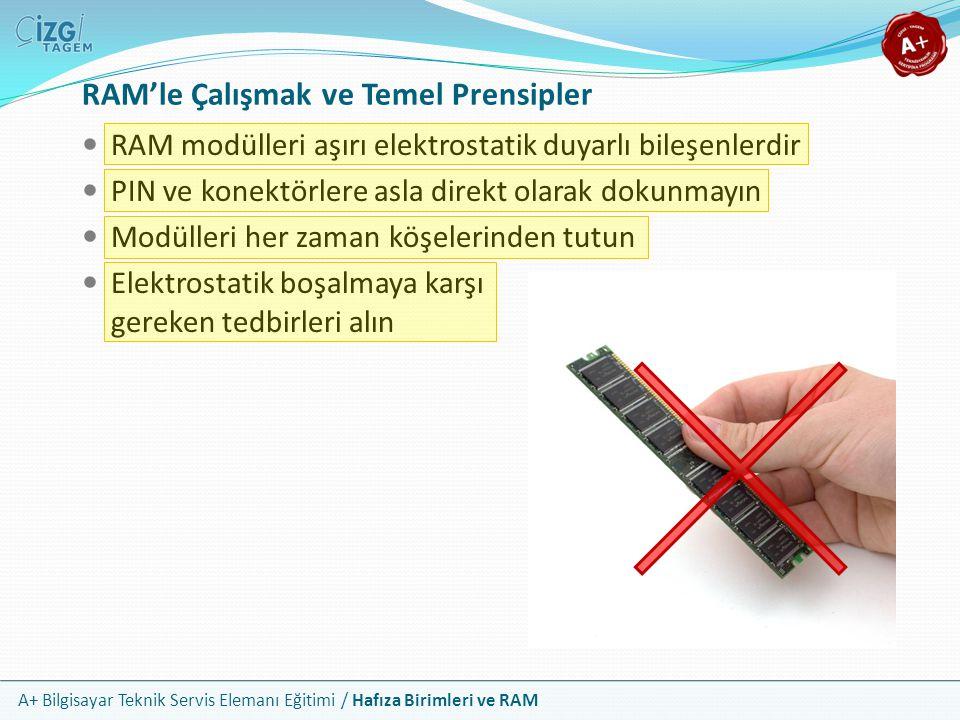 A+ Bilgisayar Teknik Servis Elemanı Eğitimi / Hafıza Birimleri ve RAM RAM'le Çalışmak ve Temel Prensipler RAM modülleri aşırı elektrostatik duyarlı bi
