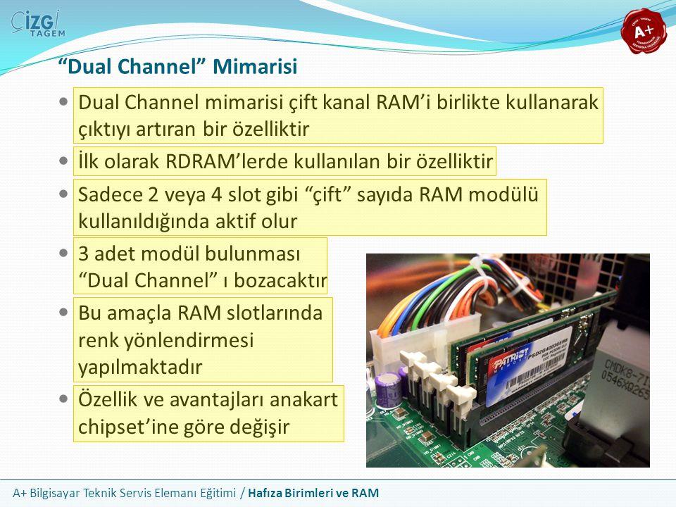 """A+ Bilgisayar Teknik Servis Elemanı Eğitimi / Hafıza Birimleri ve RAM """"Dual Channel"""" Mimarisi Dual Channel mimarisi çift kanal RAM'i birlikte kullanar"""