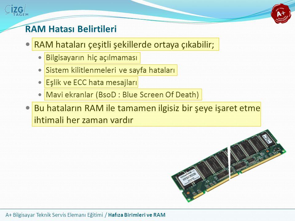 A+ Bilgisayar Teknik Servis Elemanı Eğitimi / Hafıza Birimleri ve RAM RAM hataları çeşitli şekillerde ortaya çıkabilir; Bilgisayarın hiç açılmaması Si