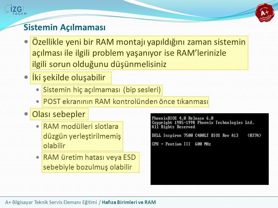 A+ Bilgisayar Teknik Servis Elemanı Eğitimi / Hafıza Birimleri ve RAM Özellikle yeni bir RAM montajı yapıldığını zaman sistemin açılması ile ilgili pr