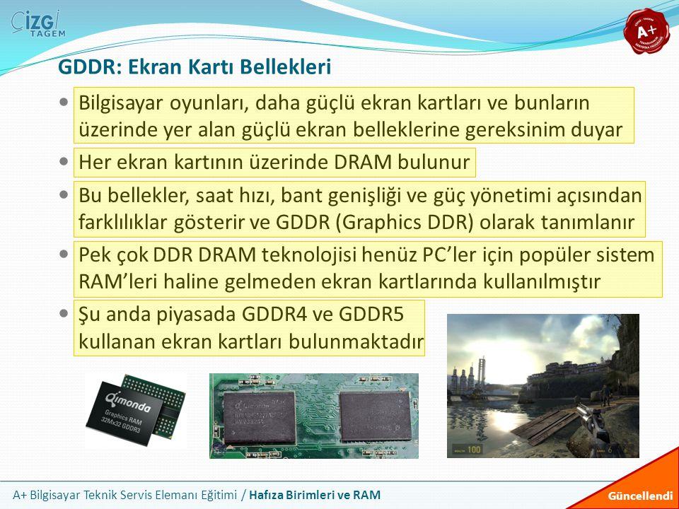 A+ Bilgisayar Teknik Servis Elemanı Eğitimi / Hafıza Birimleri ve RAM GDDR: Ekran Kartı Bellekleri Bilgisayar oyunları, daha güçlü ekran kartları ve b
