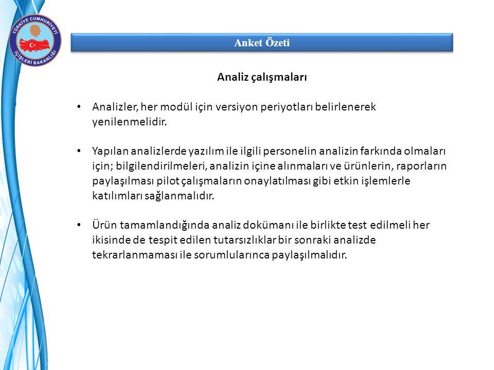 Anket Özeti Analiz çalışmaları Analizler, her modül için versiyon periyotları belirlenerek yenilenmelidir. Yapılan analizlerde yazılım ile ilgili pers