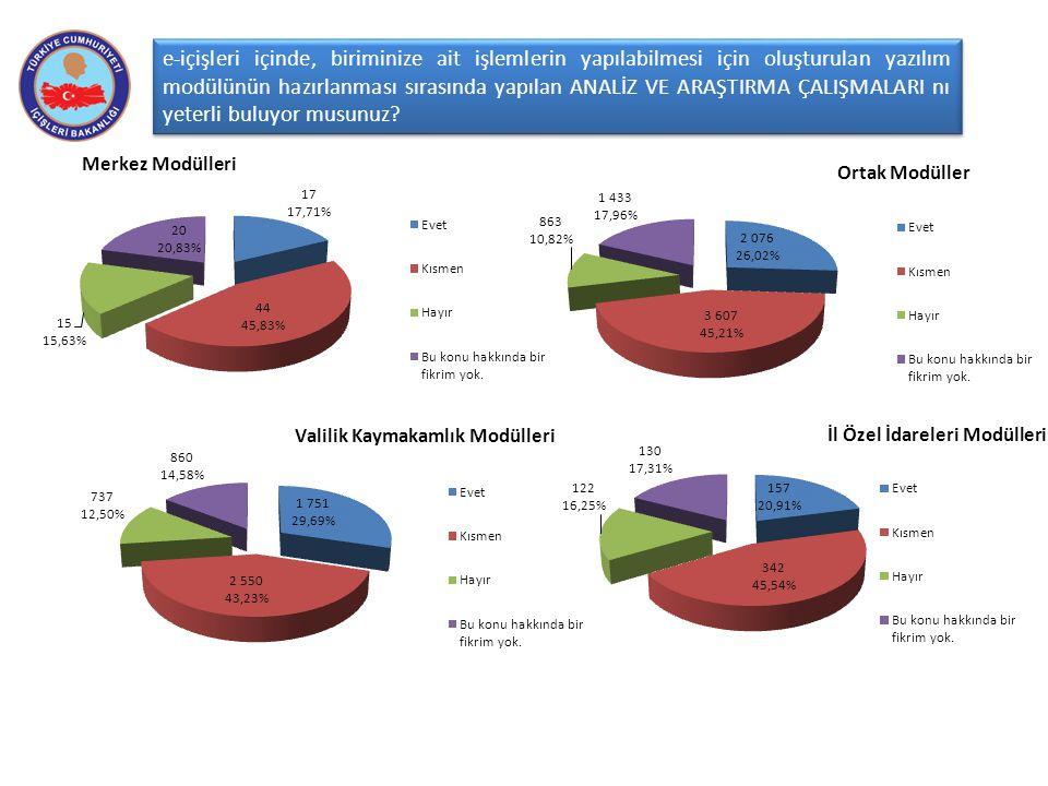 e-içişleri içinde, biriminize ait işlemlerin yapılabilmesi için oluşturulan yazılım modülünün hazırlanması sırasında yapılan ANALİZ VE ARAŞTIRMA ÇALIŞ