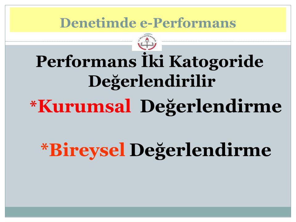 Performans İki Katogoride Değerlendirilir * Kurumsal Değerlendirme *Bireysel Değerlendirme Denetimde e-Performans