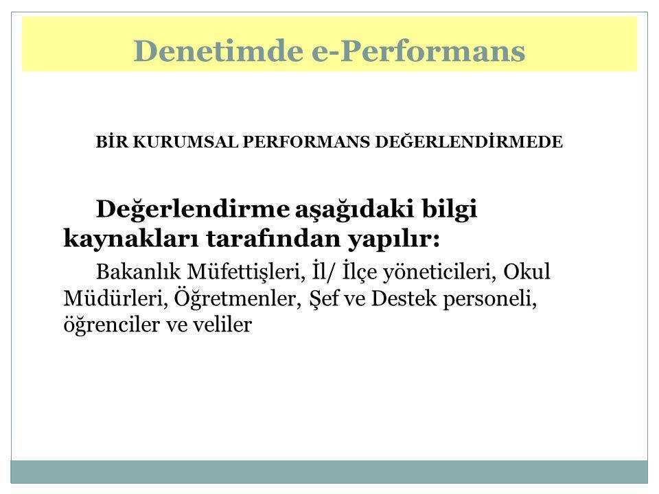 e-Performance in Inspection Denetimde e-Performans BİR KURUMSAL PERFORMANS DEĞERLENDİRMEDE Değerlendirme aşağıdaki bilgi kaynakları tarafından yapılır