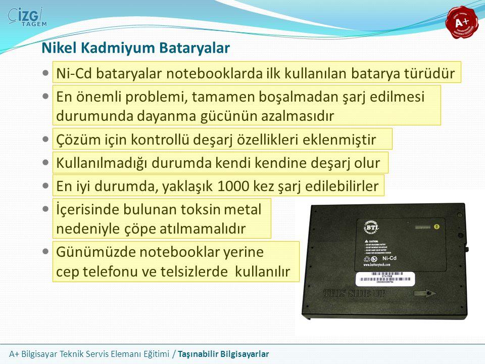 A+ Bilgisayar Teknik Servis Elemanı Eğitimi / Taşınabilir Bilgisayarlar Nikel Kadmiyum Bataryalar Ni-Cd bataryalar notebooklarda ilk kullanılan batary