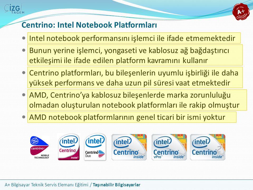 A+ Bilgisayar Teknik Servis Elemanı Eğitimi / Taşınabilir Bilgisayarlar Centrino: Intel Notebook Platformları Intel notebook performansını işlemci ile
