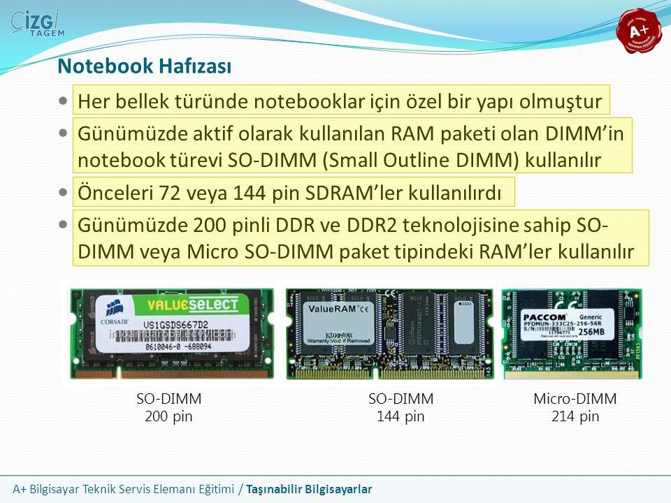 A+ Bilgisayar Teknik Servis Elemanı Eğitimi / Taşınabilir Bilgisayarlar Notebook Hafızası Her bellek türünde notebooklar için özel bir yapı olmuştur G