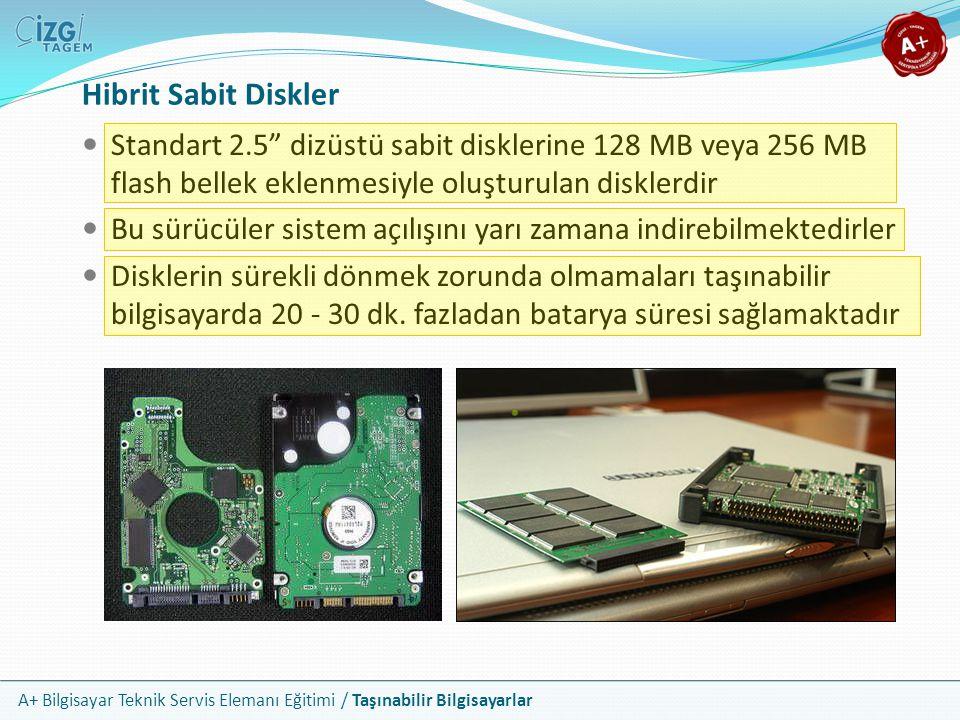 """A+ Bilgisayar Teknik Servis Elemanı Eğitimi / Taşınabilir Bilgisayarlar Hibrit Sabit Diskler Standart 2.5"""" dizüstü sabit disklerine 128 MB veya 256 MB"""