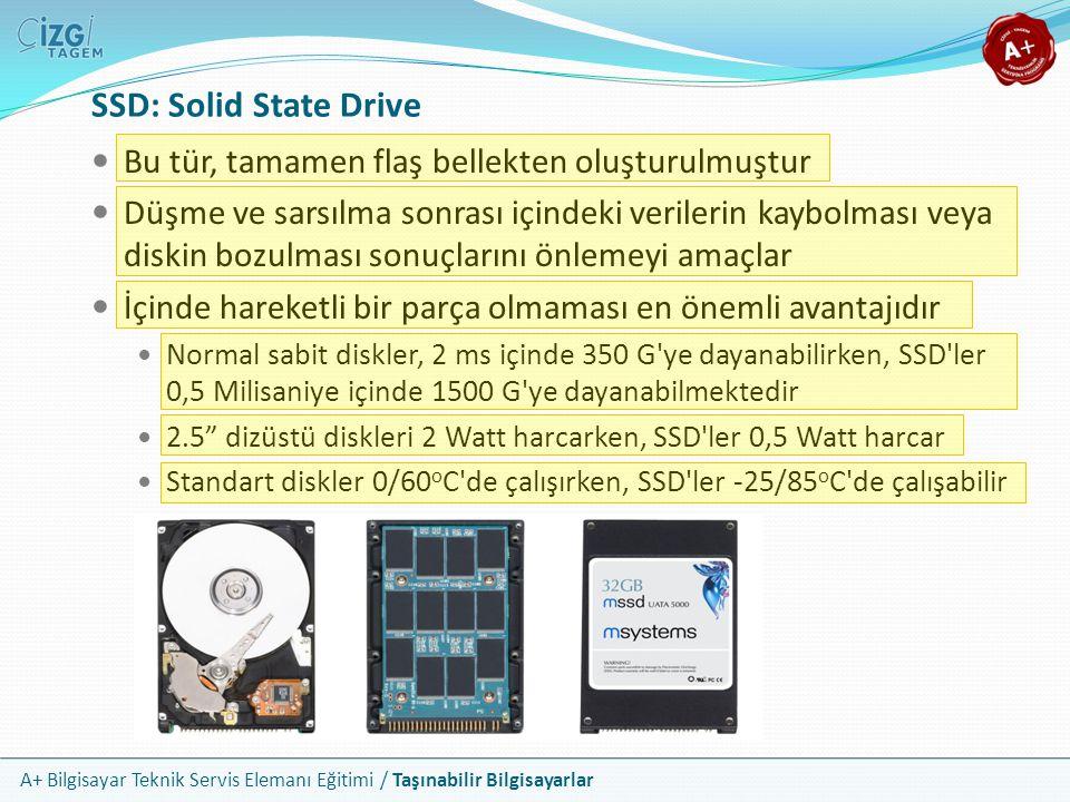 A+ Bilgisayar Teknik Servis Elemanı Eğitimi / Taşınabilir Bilgisayarlar SSD: Solid State Drive Bu tür, tamamen flaş bellekten oluşturulmuştur Düşme ve