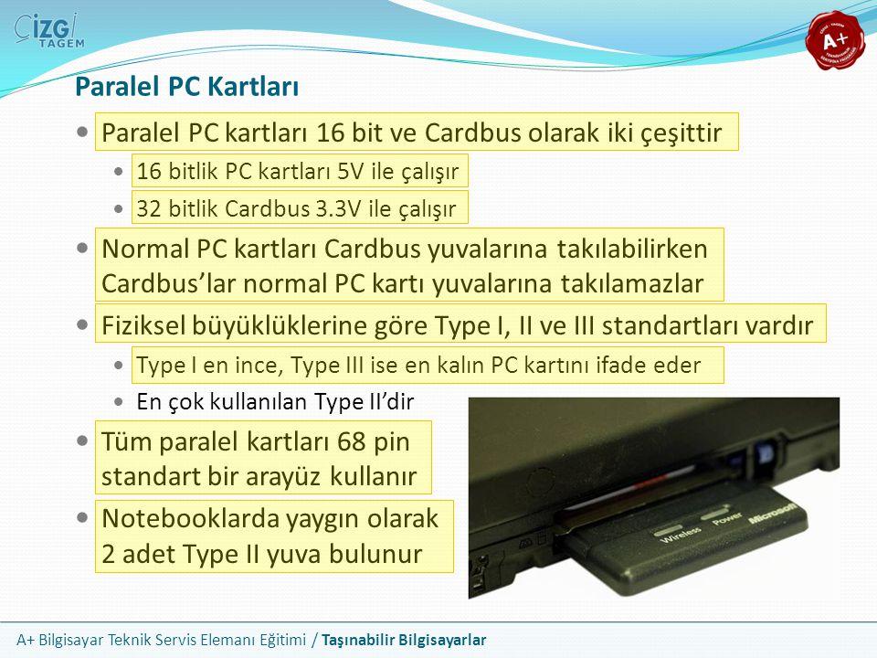 A+ Bilgisayar Teknik Servis Elemanı Eğitimi / Taşınabilir Bilgisayarlar Paralel PC Kartları Paralel PC kartları 16 bit ve Cardbus olarak iki çeşittir