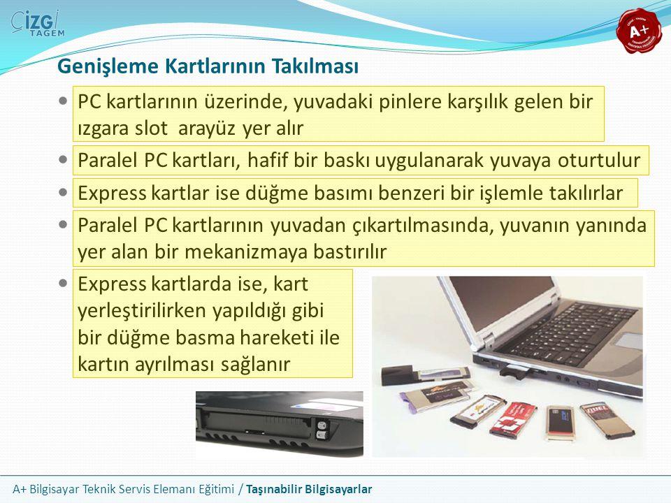 A+ Bilgisayar Teknik Servis Elemanı Eğitimi / Taşınabilir Bilgisayarlar Genişleme Kartlarının Takılması PC kartlarının üzerinde, yuvadaki pinlere karş