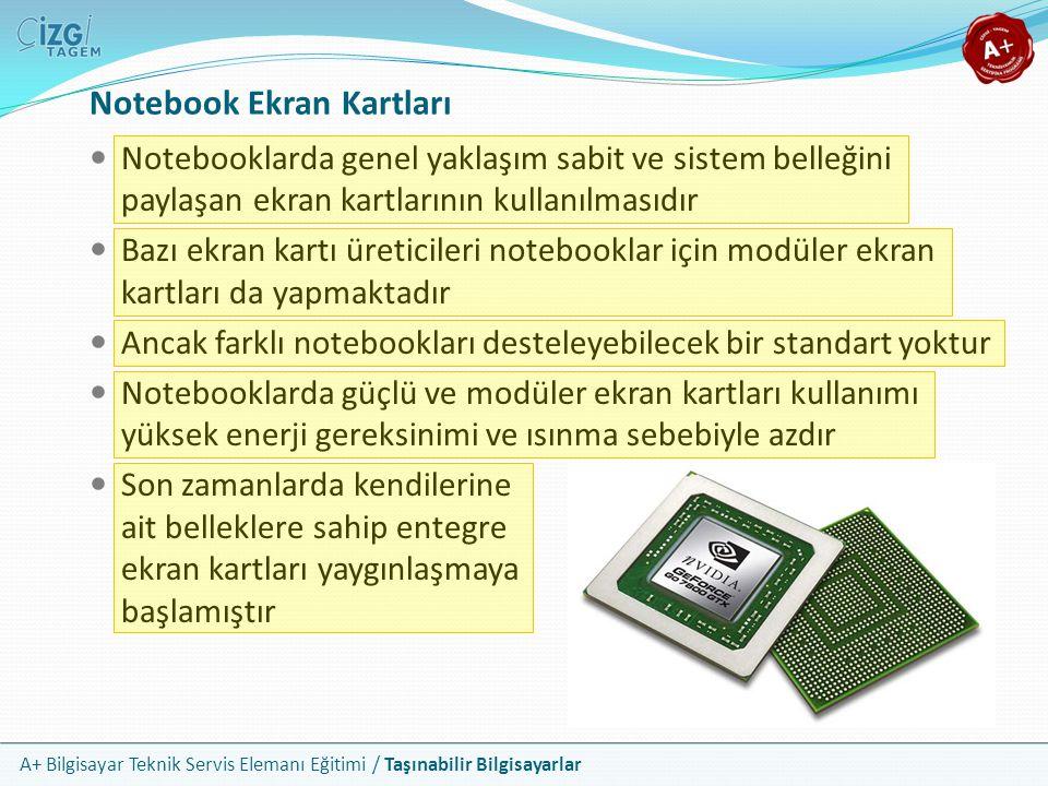 A+ Bilgisayar Teknik Servis Elemanı Eğitimi / Taşınabilir Bilgisayarlar Notebook Ekran Kartları Notebooklarda genel yaklaşım sabit ve sistem belleğini
