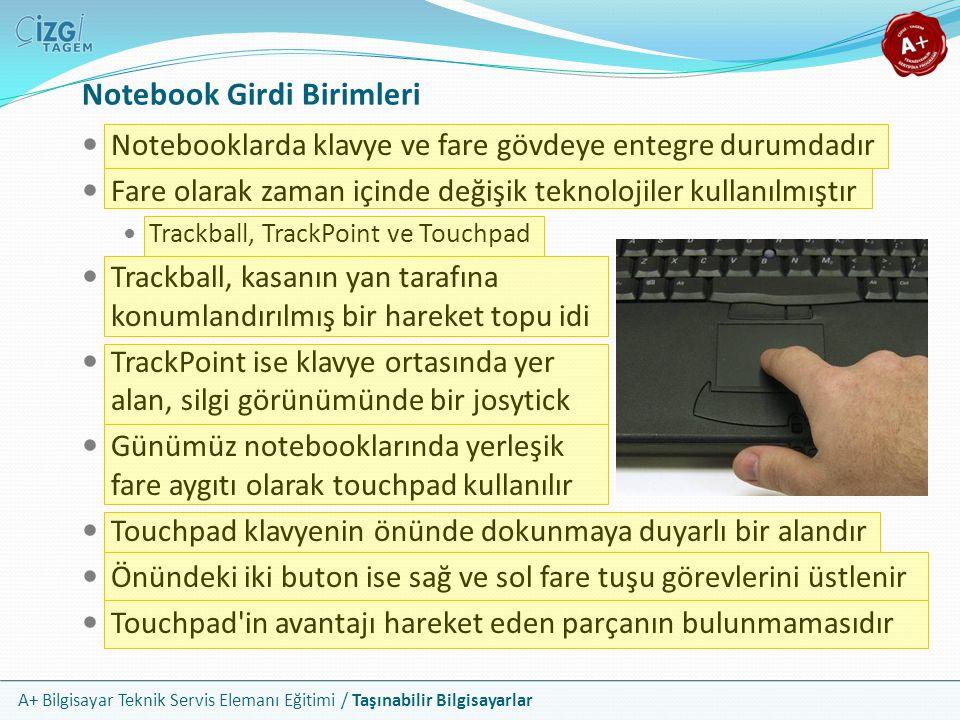 A+ Bilgisayar Teknik Servis Elemanı Eğitimi / Taşınabilir Bilgisayarlar Notebook Girdi Birimleri Notebooklarda klavye ve fare gövdeye entegre durumdad