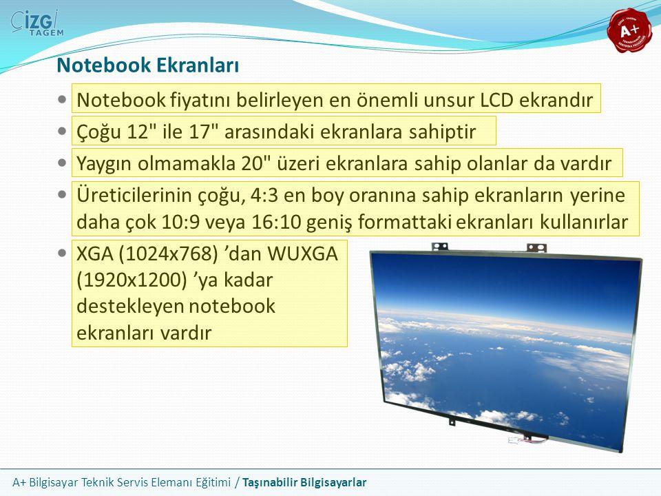 A+ Bilgisayar Teknik Servis Elemanı Eğitimi / Taşınabilir Bilgisayarlar Notebook Ekranları Notebook fiyatını belirleyen en önemli unsur LCD ekrandır Ç