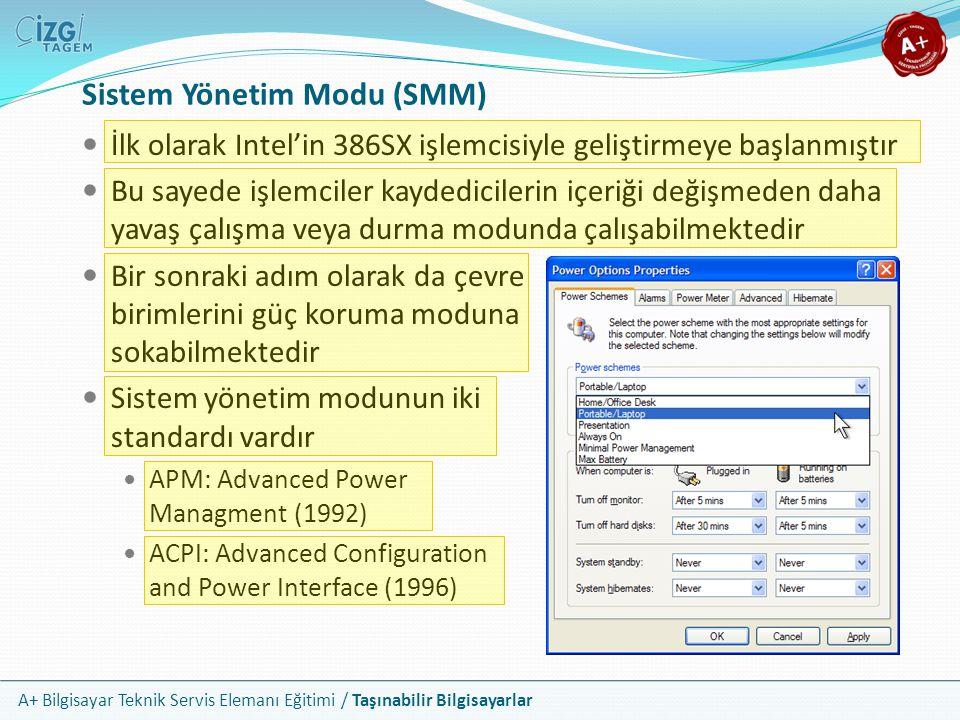 A+ Bilgisayar Teknik Servis Elemanı Eğitimi / Taşınabilir Bilgisayarlar Sistem Yönetim Modu (SMM) İlk olarak Intel'in 386SX işlemcisiyle geliştirmeye
