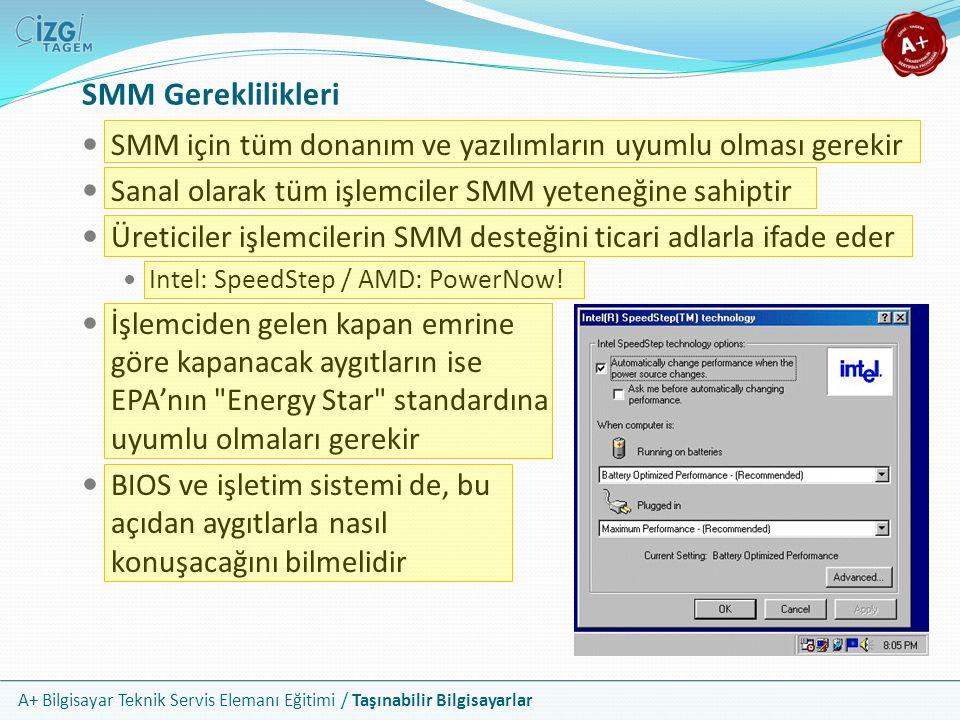 A+ Bilgisayar Teknik Servis Elemanı Eğitimi / Taşınabilir Bilgisayarlar SMM Gereklilikleri SMM için tüm donanım ve yazılımların uyumlu olması gerekir