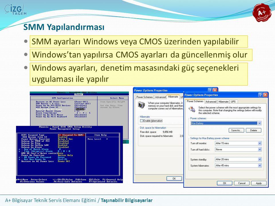 A+ Bilgisayar Teknik Servis Elemanı Eğitimi / Taşınabilir Bilgisayarlar SMM ayarları Windows veya CMOS üzerinden yapılabilir Windows'tan yapılırsa CMO