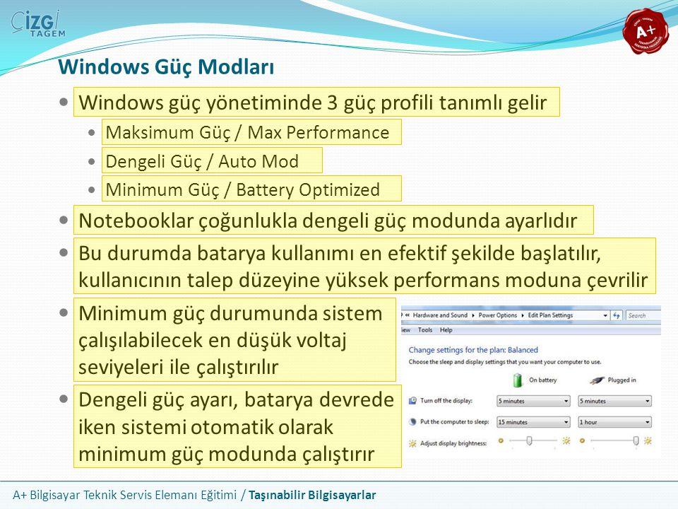 A+ Bilgisayar Teknik Servis Elemanı Eğitimi / Taşınabilir Bilgisayarlar Windows Güç Modları Windows güç yönetiminde 3 güç profili tanımlı gelir Maksim