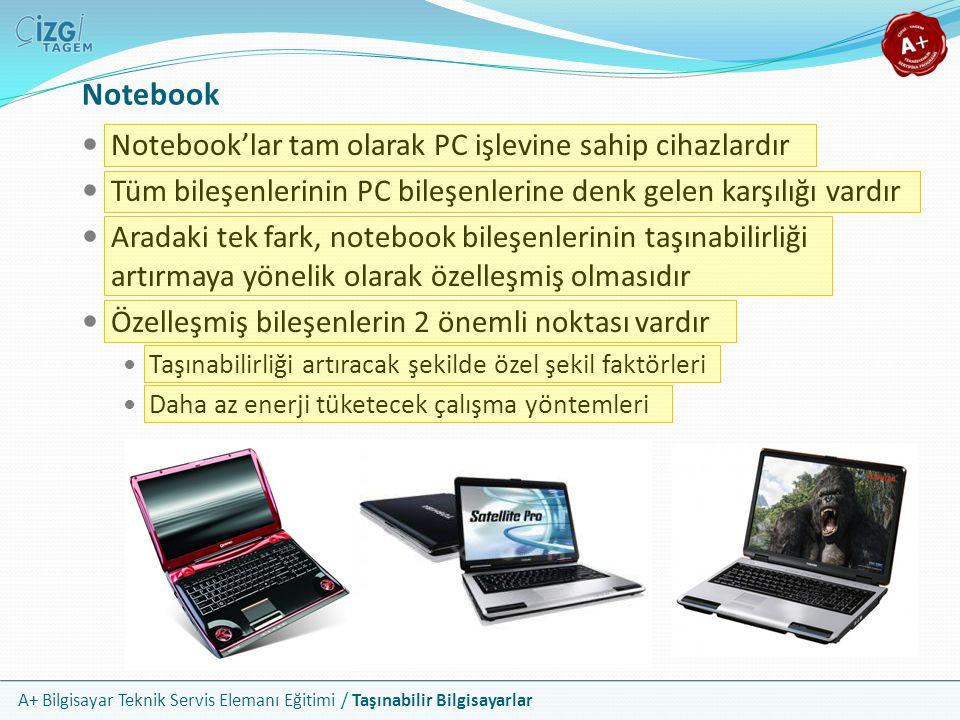 A+ Bilgisayar Teknik Servis Elemanı Eğitimi / Taşınabilir Bilgisayarlar Notebook Kasası Notebook kasaları için genel bir şekil faktörü yoktur Tasarımlar üretici ve modeller açısından ciddi farklar sergiler Sunulan bağlayıcıların yeri, özellikleri ve sayısı da değişkendir Yaygın olarak aşağıdaki bağlayıcı, yuva ve aygıtlar bulunur İkincil erkan çıkışları Ses giriş ve çıkışı USB ve FireWire portları e-Sata portu Kart okuyucular RJ45 ve RJ11 portları PC kart yuvaları Parmak izi okuyucu Mikrofon ve kamera
