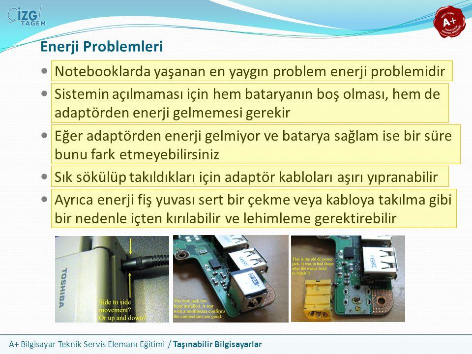 A+ Bilgisayar Teknik Servis Elemanı Eğitimi / Taşınabilir Bilgisayarlar Enerji Problemleri Notebooklarda yaşanan en yaygın problem enerji problemidir