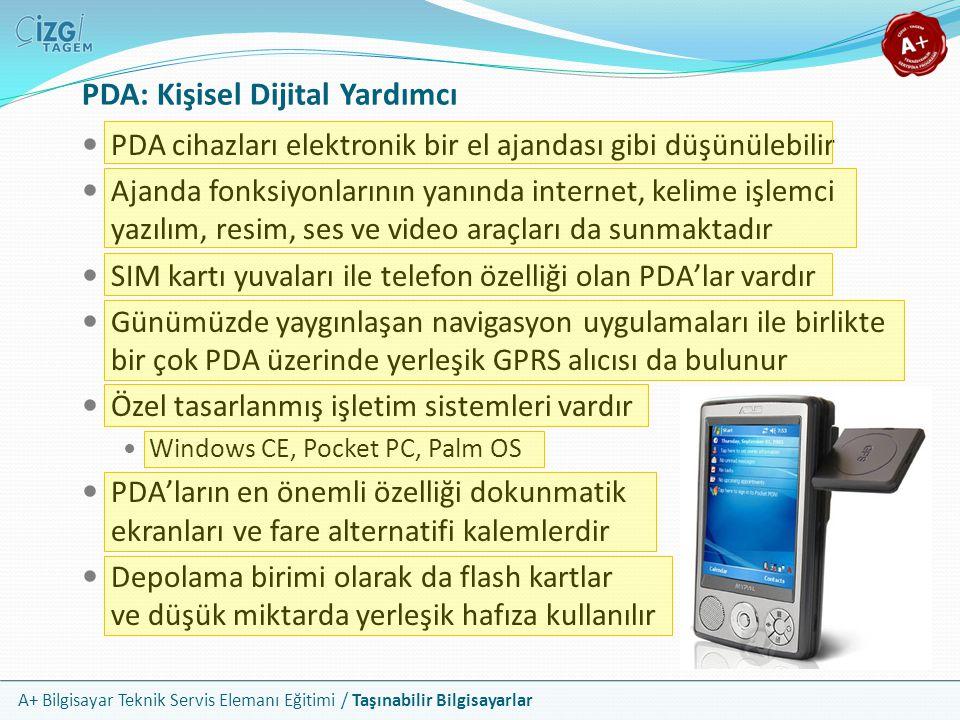 A+ Bilgisayar Teknik Servis Elemanı Eğitimi / Taşınabilir Bilgisayarlar PDA: Kişisel Dijital Yardımcı PDA cihazları elektronik bir el ajandası gibi dü
