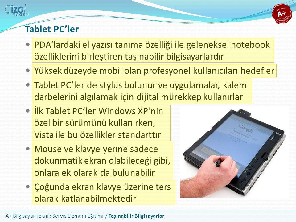 A+ Bilgisayar Teknik Servis Elemanı Eğitimi / Taşınabilir Bilgisayarlar Tablet PC'ler PDA'lardaki el yazısı tanıma özelliği ile geleneksel notebook öz