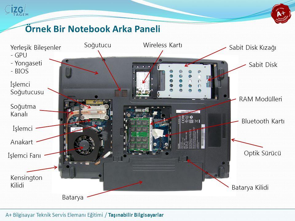 A+ Bilgisayar Teknik Servis Elemanı Eğitimi / Taşınabilir Bilgisayarlar Notebook Sabit Disk Kurulumu 2.5 boyuta sahip tüm disk türleri aynı yuvayı kullanabilir Yuva, bilgisayarın alt yüzeyinde özel bir kapağın altında yer alır Kapağın altında sabit diskin monte edildiği özel bir çerçeve bulunur ve bu çerçeve notebook kasasına vidalanmıştır Veri ve güç bağlantısı için bir kablo yoktur Çerçeve üzerinde yer alan ve yatay hareketi sağlayan tutamaçlar ile pinler direkt olarak bir sokete yerleştirilir Bazı modellerde montaj yeri yan yüzeyde yer alır Çerçevenin boyutu ve montaj şekli üreticiden üreticiye değişebilir