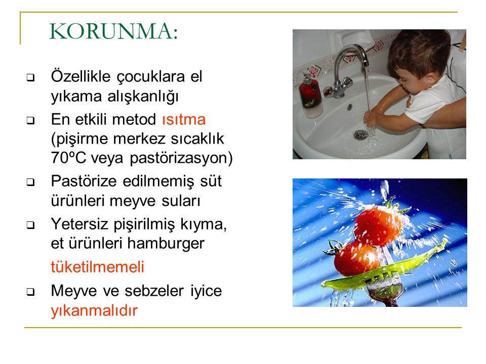  Özellikle çocuklara el yıkama alışkanlığı  En etkili metod ısıtma (pişirme merkez sıcaklık 70ºC veya pastörizasyon)  Pastörize edilmemiş süt ürünl