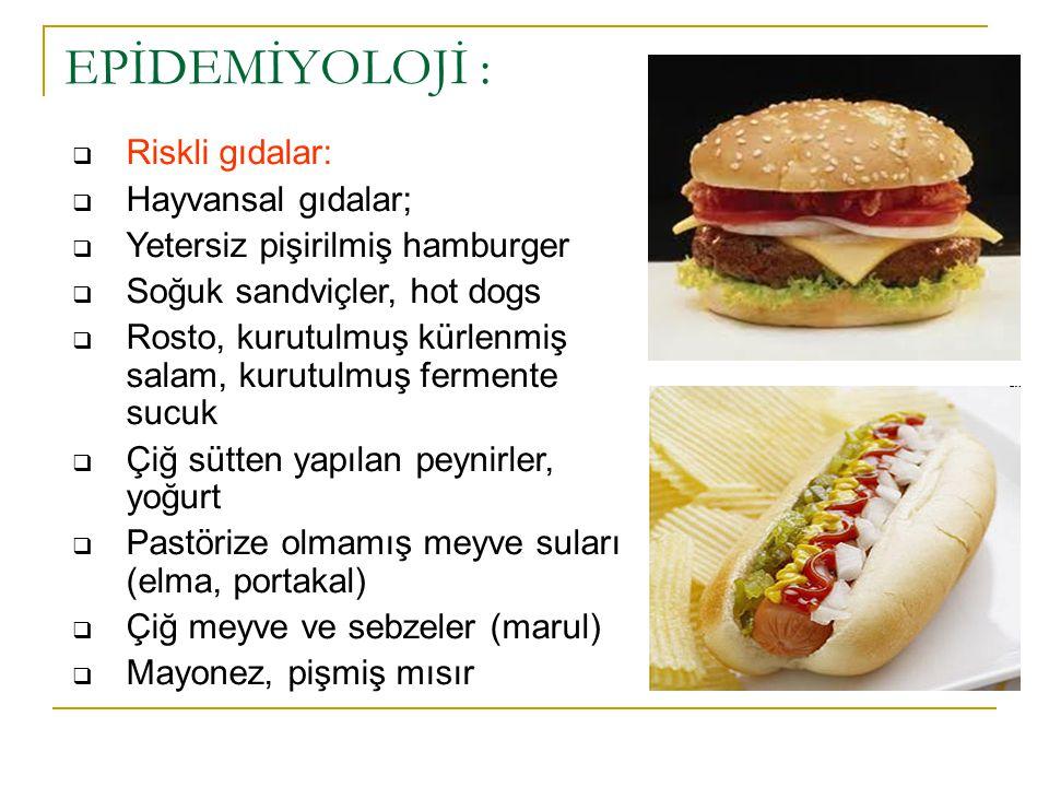  Riskli gıdalar:  Hayvansal gıdalar;  Yetersiz pişirilmiş hamburger  Soğuk sandviçler, hot dogs  Rosto, kurutulmuş kürlenmiş salam, kurutulmuş fe