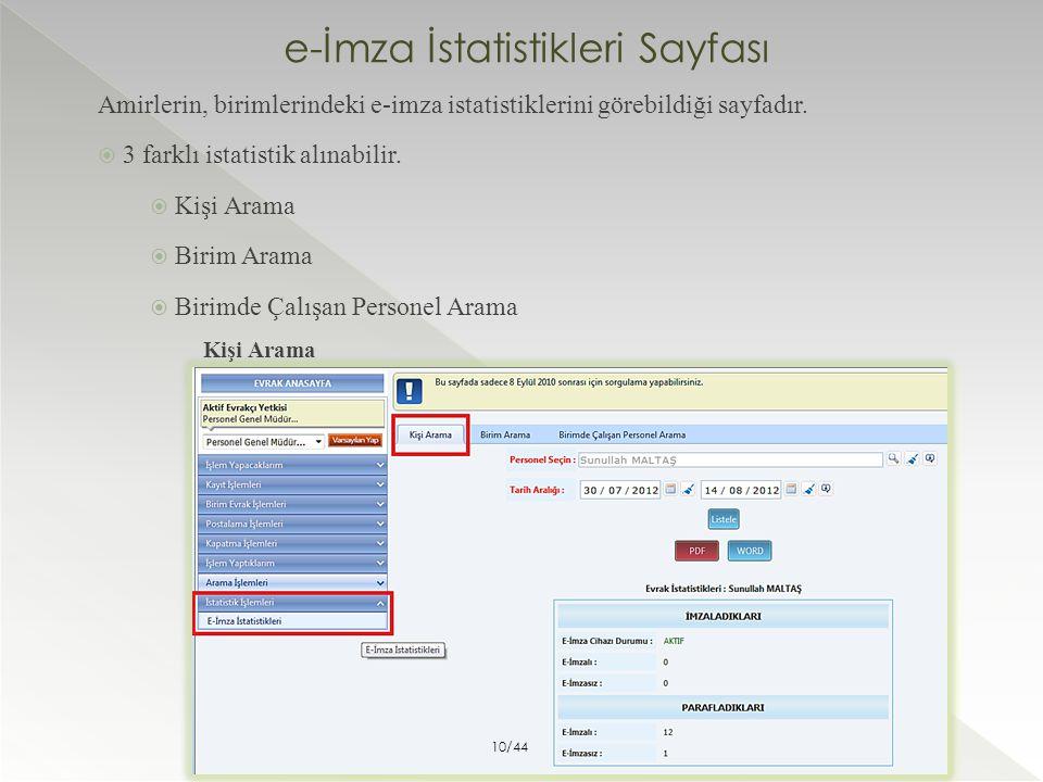 e-İmza İstatistikleri Sayfası Amirlerin, birimlerindeki e-imza istatistiklerini görebildiği sayfadır.  3 farklı istatistik alınabilir.  Kişi Arama 