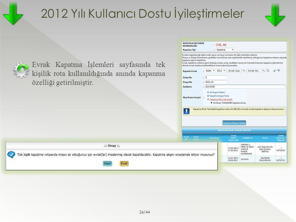 2012 Yılı Kullanıcı Dostu İyileştirmeler Evrak Kapatma İşlemleri sayfasında tek kişilik rota kullanıldığında anında kapanma özelliği getirilmiştir. 26