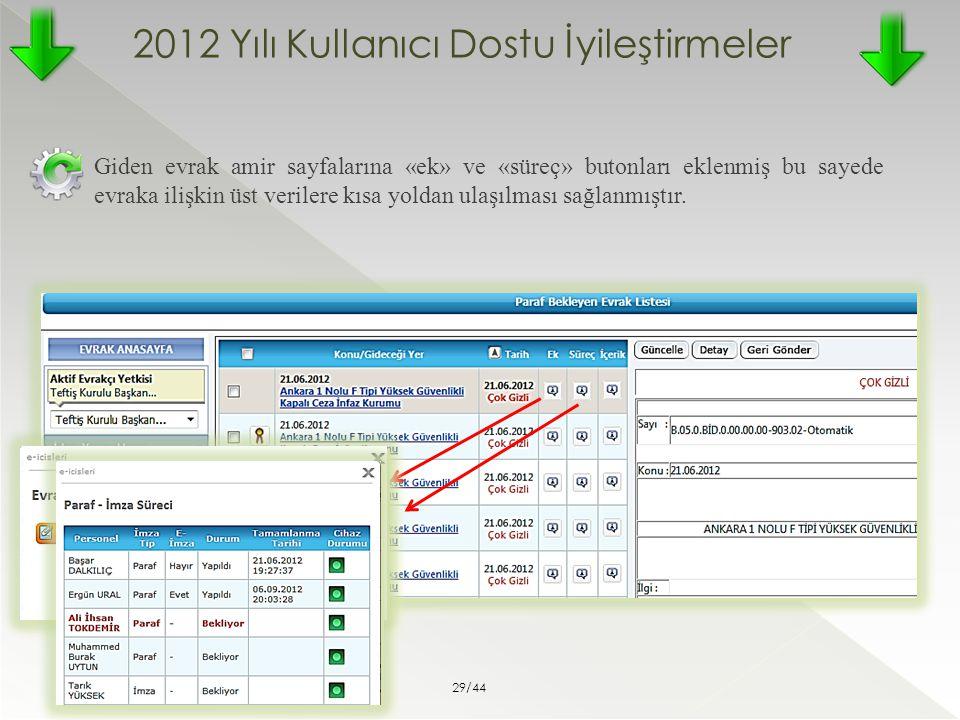 2012 Yılı Kullanıcı Dostu İyileştirmeler Giden evrak amir sayfalarına «ek» ve «süreç» butonları eklenmiş bu sayede evraka ilişkin üst verilere kısa yo