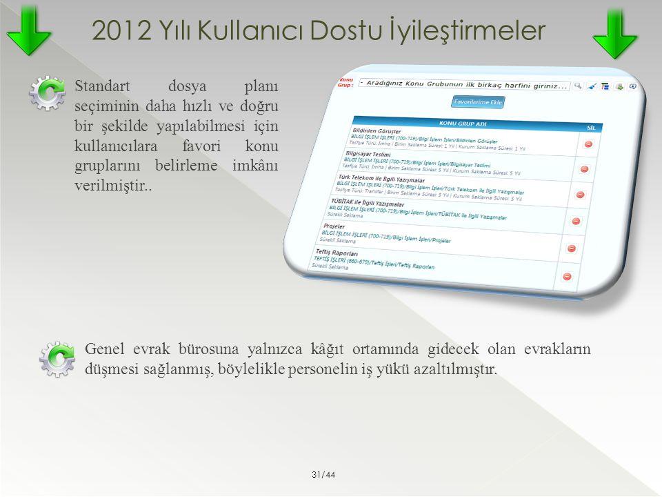 2012 Yılı Kullanıcı Dostu İyileştirmeler Standart dosya planı seçiminin daha hızlı ve doğru bir şekilde yapılabilmesi için kullanıcılara favori konu g