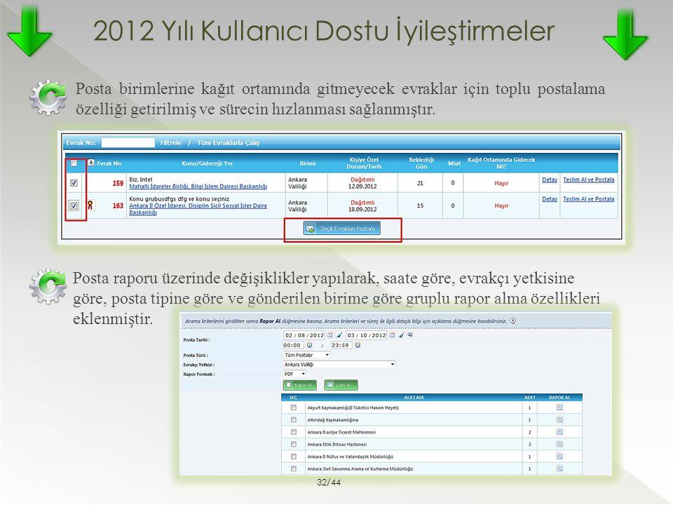 2012 Yılı Kullanıcı Dostu İyileştirmeler Posta birimlerine kağıt ortamında gitmeyecek evraklar için toplu postalama özelliği getirilmiş ve sürecin hız