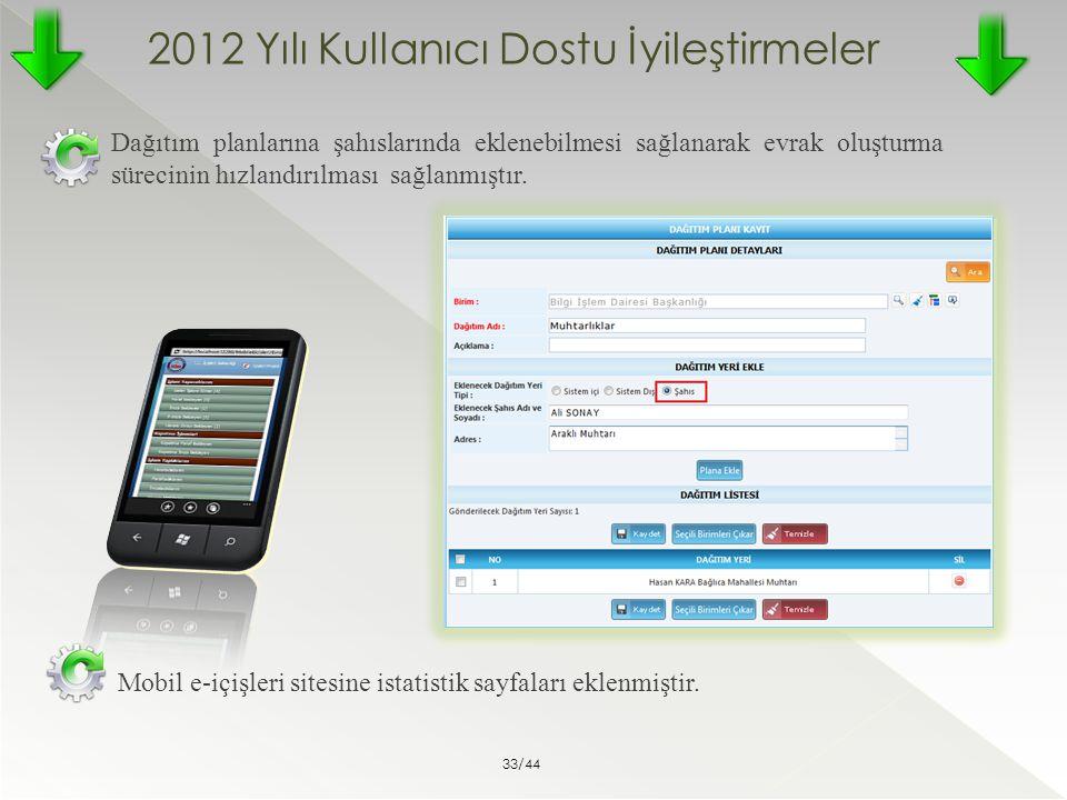 2012 Yılı Kullanıcı Dostu İyileştirmeler Dağıtım planlarına şahıslarında eklenebilmesi sağlanarak evrak oluşturma sürecinin hızlandırılması sağlanmışt