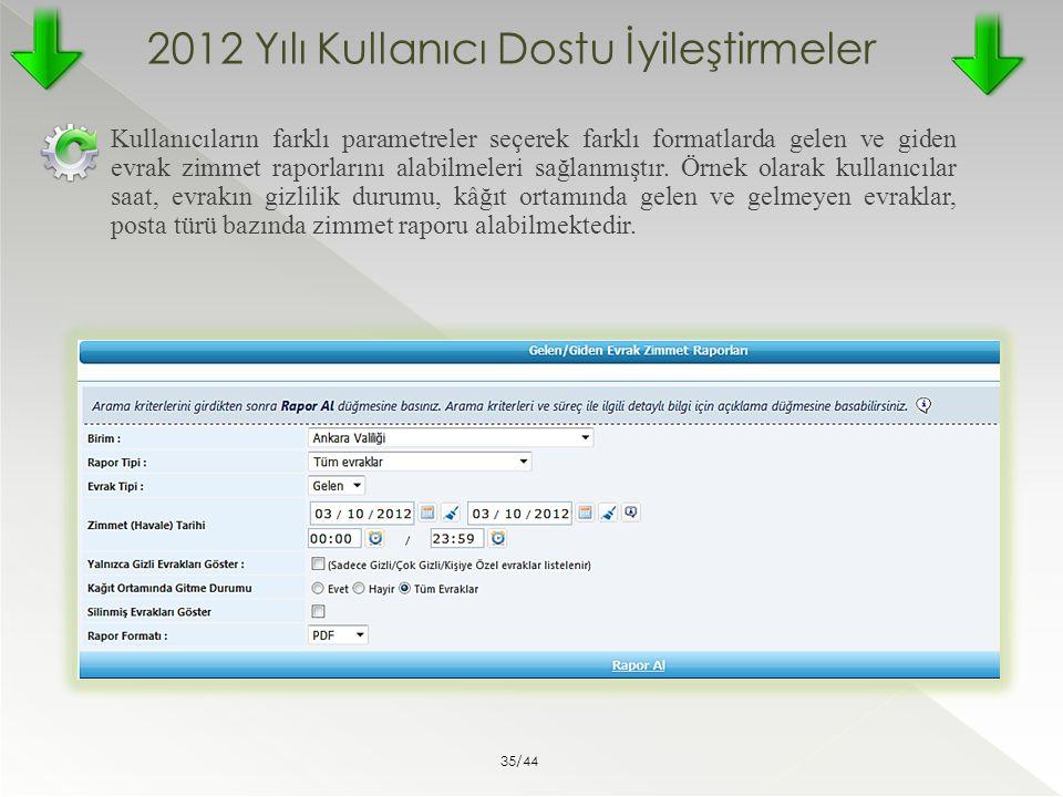 2012 Yılı Kullanıcı Dostu İyileştirmeler Kullanıcıların farklı parametreler seçerek farklı formatlarda gelen ve giden evrak zimmet raporlarını alabilm