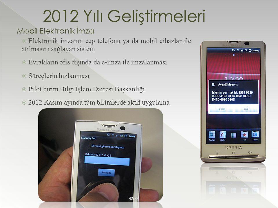 2012 Yılı Geliştirmeleri Mobil Elektronik İmza  Elektronik imzanın cep telefonu ya da mobil cihazlar ile atılmasını sağlayan sistem  Evrakların ofis