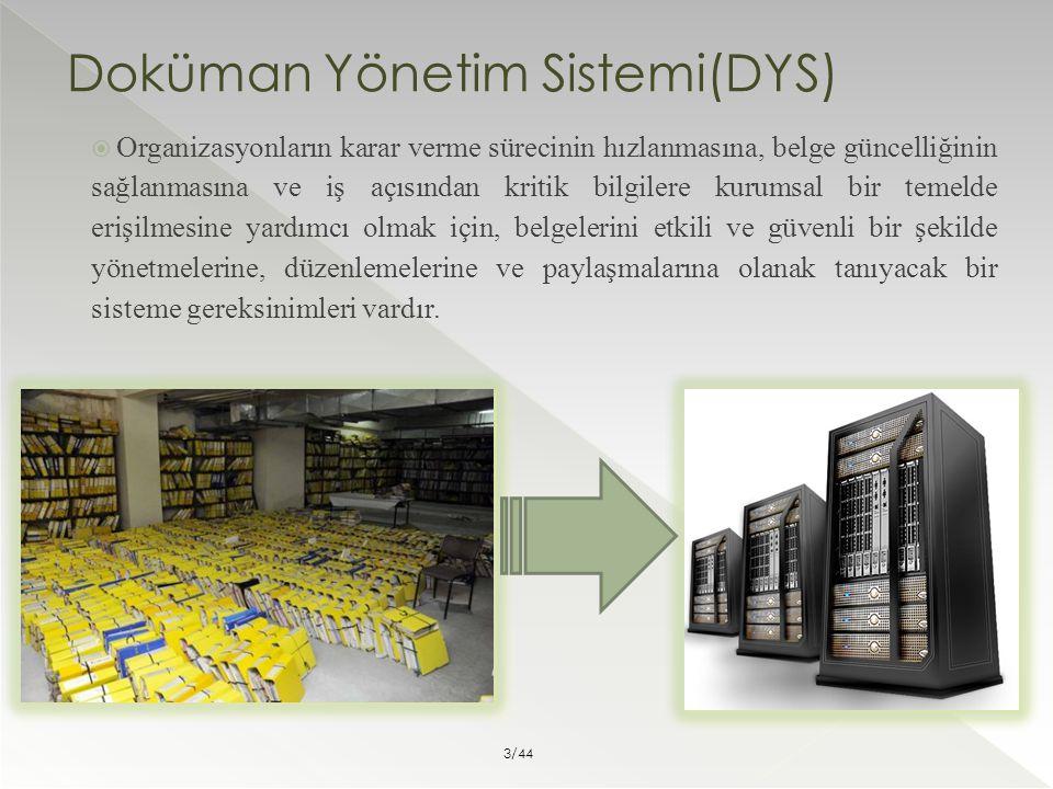 Doküman Yönetim Sistemi(DYS)  Organizasyonların karar verme sürecinin hızlanmasına, belge güncelliğinin sağlanmasına ve iş açısından kritik bilgilere