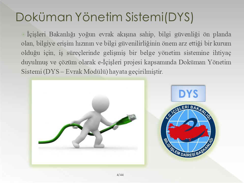 Doküman Yönetim Sistemi(DYS)  İçişleri Bakanlığı yoğun evrak akışına sahip, bilgi güvenliği ön planda olan, bilgiye erişim hızının ve bilgi güvenilir