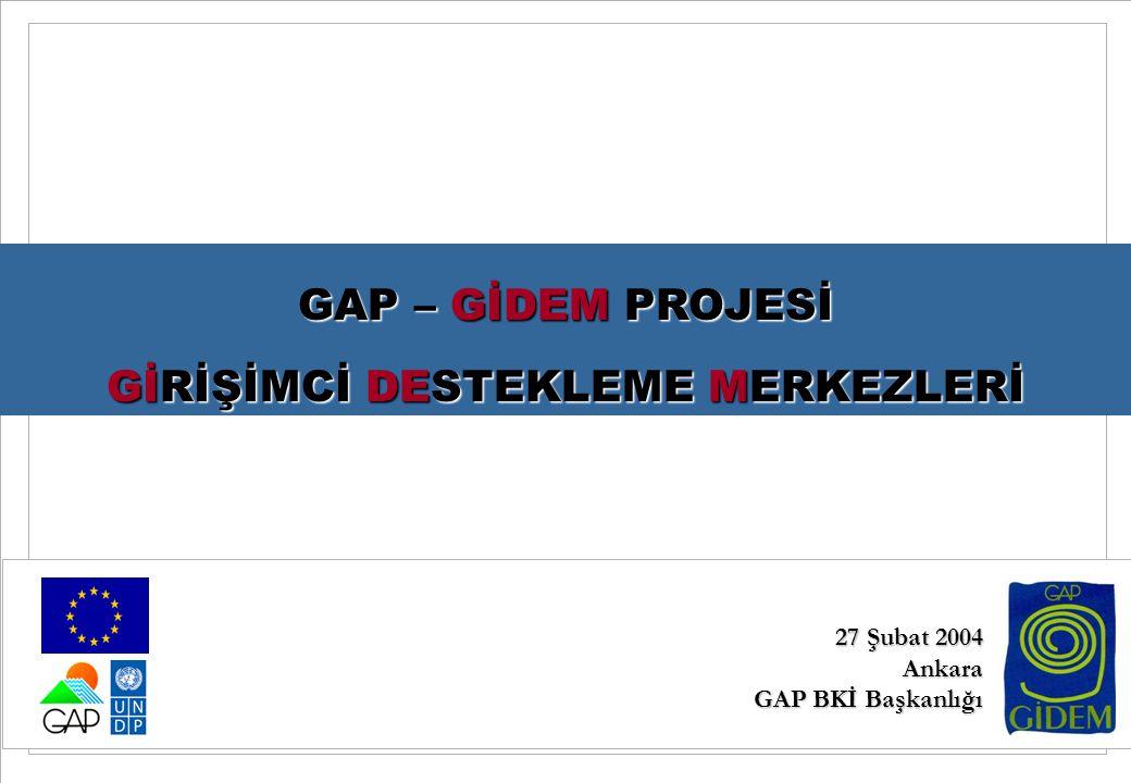 0 27 02 2004 GAP GIDEM Projesi AB'nin mali desteği ile UNDP tarafından GAP BKİ ile işbirliği içerisinde yürütülmektedir GAP – GİDEM PROJESİ GİRİŞİMCİ DESTEKLEME MERKEZLERİ 27 Şubat 2004 Ankara GAP BKİ Başkanlığı