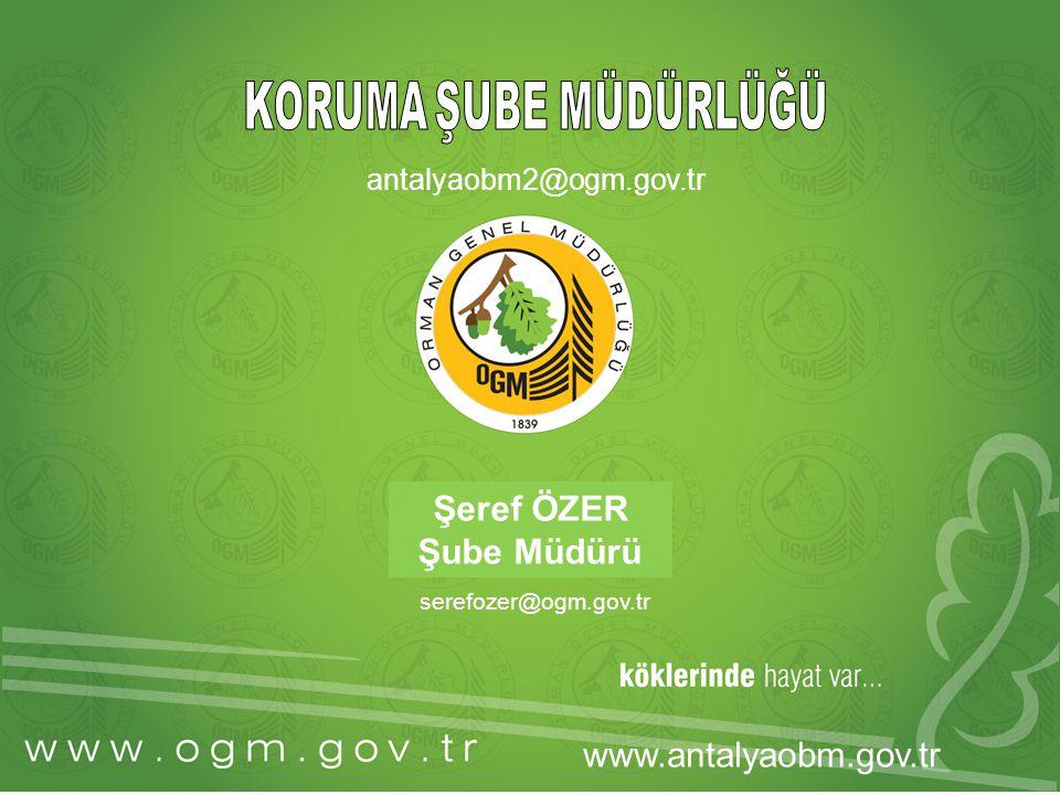 Şeref ÖZER Şube Müdürü serefozer@ogm.gov.tr www.antalyaobm.gov.tr antalyaobm2@ogm.gov.tr