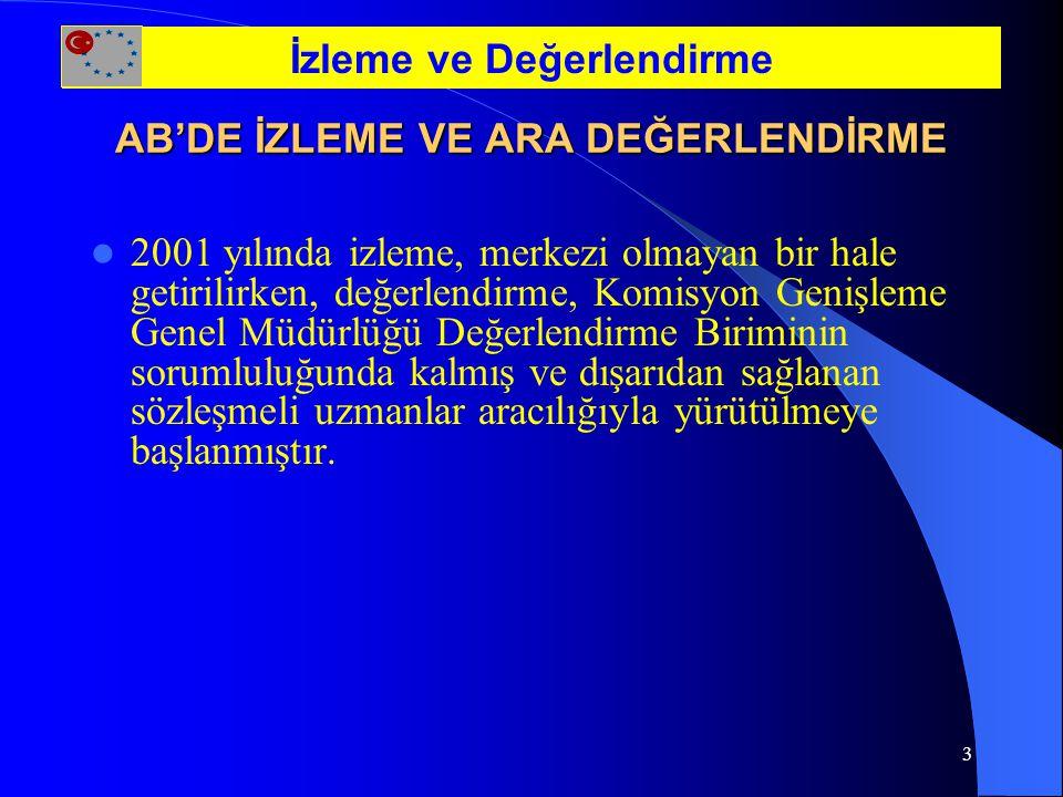 4 TÜRKİYE'DE KANUNİ DAYANAK Merkezi Olmayan Yapılanma (17 Aralık 2001 tarih ve 2500/2001 4sayılı Türkiye İçin Katılım Öncesi Mali Yardım AB Konseyi Tüzüğü- Tek Çerçeve Tüzüğü) Türkiye'ye sağlanan kaynaklar tek çerçeve altında toplandı.(MEDA +Gümrük Birliği+ Ekonomik ve Sosyal Kalkınma) İzleme ve Değerlendirme
