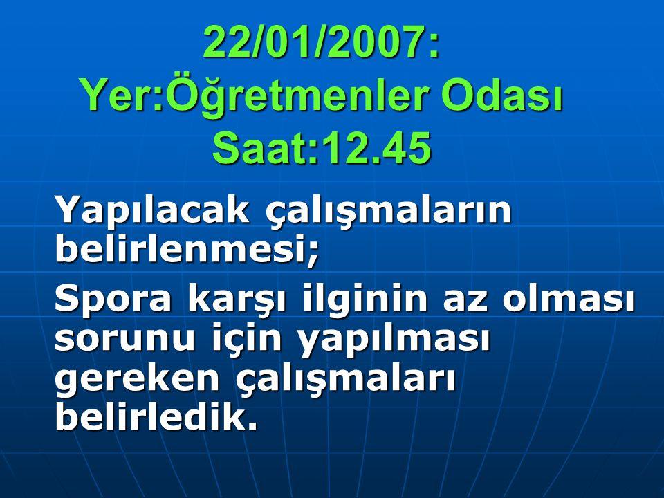 22/01/2007: Yer:Öğretmenler Odası Saat:12.45 Yapılacak çalışmaların belirlenmesi; Spora karşı ilginin az olması sorunu için yapılması gereken çalışmal