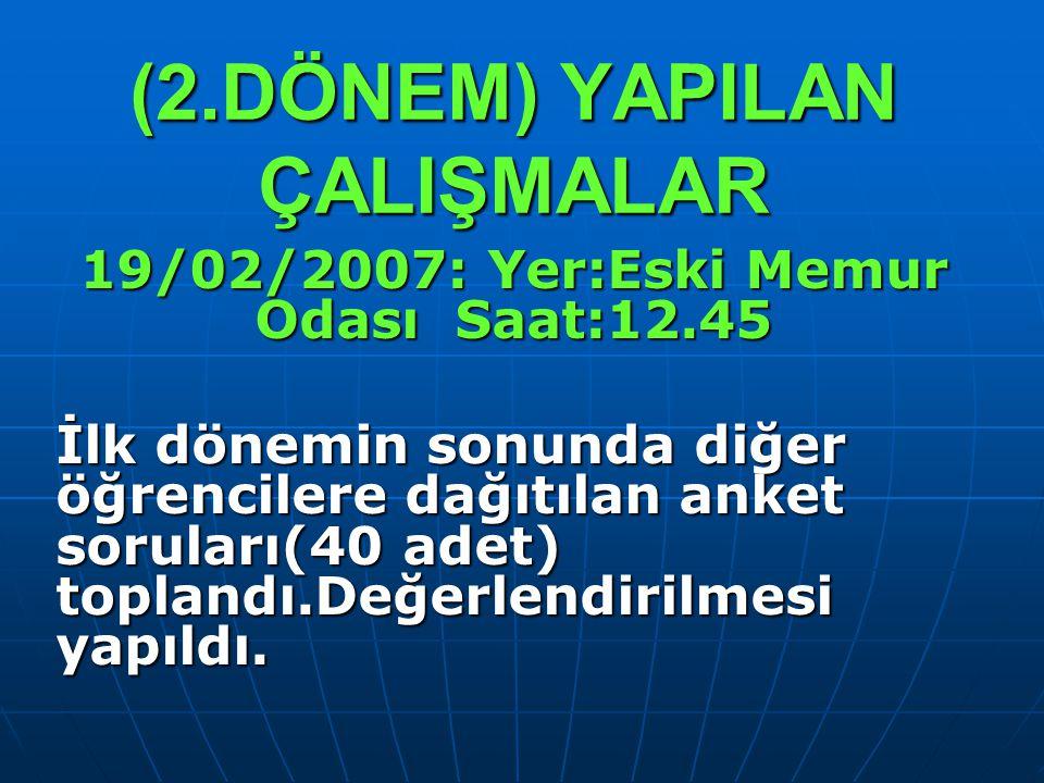 (2.DÖNEM) YAPILAN ÇALIŞMALAR 19/02/2007: Yer:Eski Memur Odası Saat:12.45 İlk dönemin sonunda diğer öğrencilere dağıtılan anket soruları(40 adet) topla