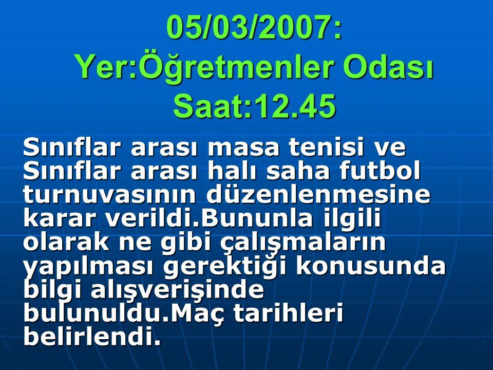 05/03/2007: Yer:Öğretmenler Odası Saat:12.45 Sınıflar arası masa tenisi ve Sınıflar arası halı saha futbol turnuvasının düzenlenmesine karar verildi.B
