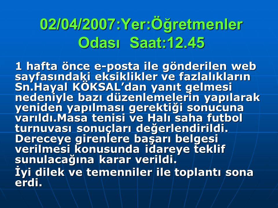 02/04/2007:Yer:Öğretmenler Odası Saat:12.45 1 hafta önce e-posta ile gönderilen web sayfasındaki eksiklikler ve fazlalıkların Sn.Hayal KÖKSAL'dan yanı