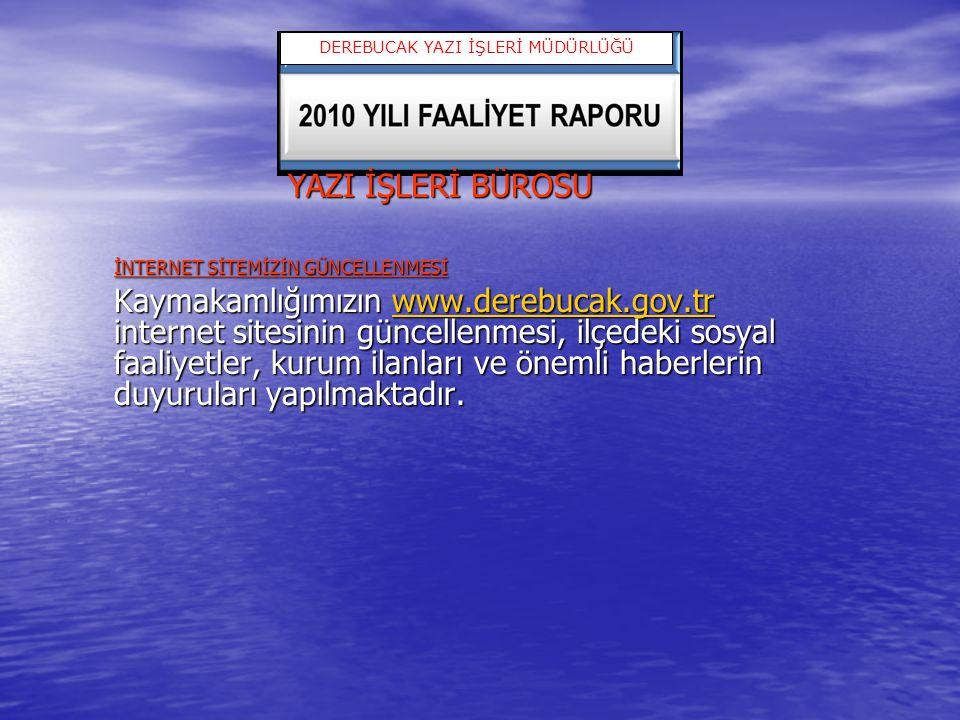 YAZI İŞLERİ BÜROSU İNTERNET SİTEMİZİN GÜNCELLENMESİ Kaymakamlığımızın www.derebucak.gov.tr internet sitesinin güncellenmesi, ilçedeki sosyal faaliyetl