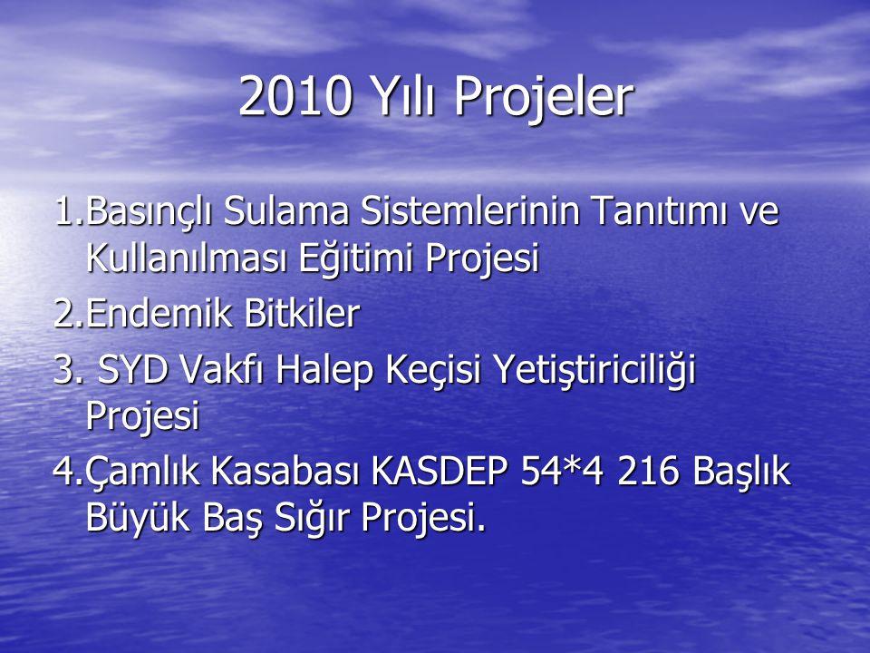 2010 Yılı Projeler 1.Basınçlı Sulama Sistemlerinin Tanıtımı ve Kullanılması Eğitimi Projesi 2.Endemik Bitkiler 3. SYD Vakfı Halep Keçisi Yetiştiricili